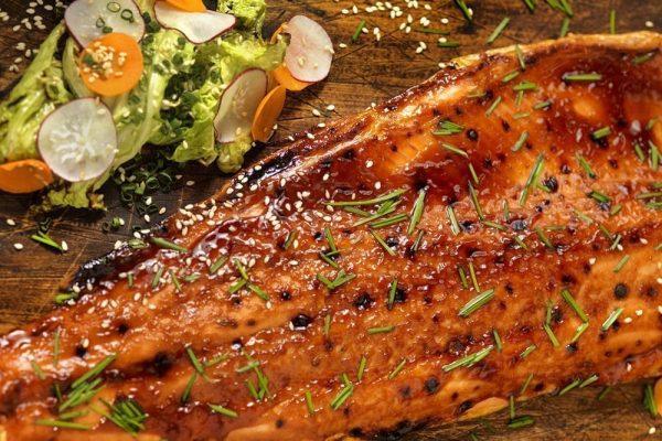 Grilled Salmon Tips & Soy Glaze